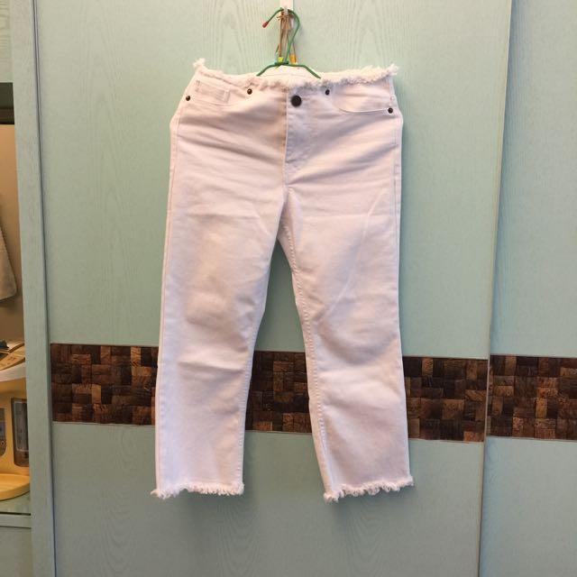 全新正韓鬚邊白色牛仔褲