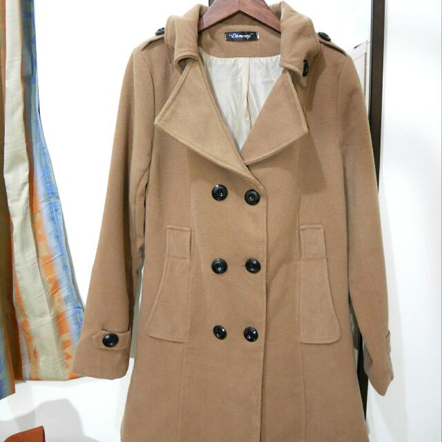 【二手】駝色雙排扣大衣外套