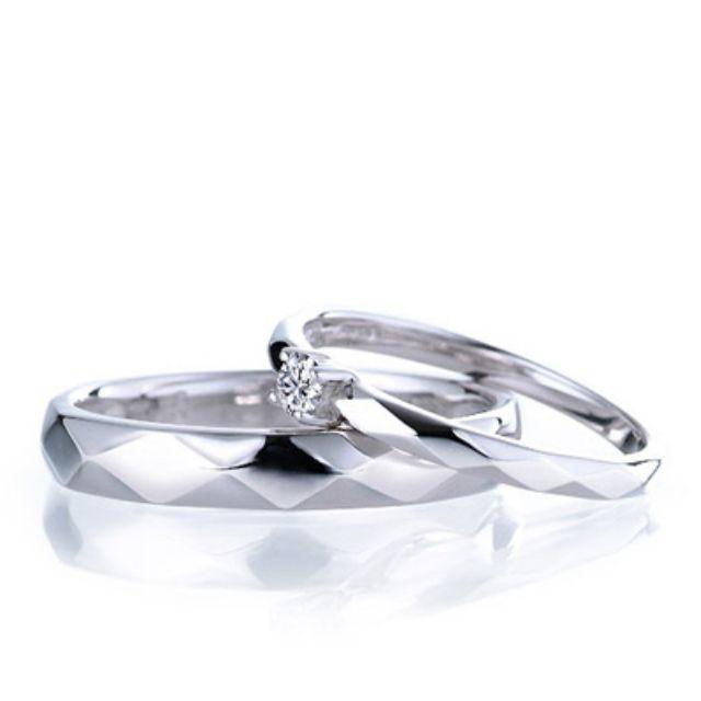 天然鑽石對戒/菱形切面/男女對戒/情人節訂情物