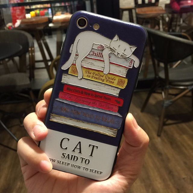 浮雕原創貓咪手機殼保護套 附掛繩 蘋果iphone7 7plus 6/6s  6plus/6splus全包 防摔 卡通