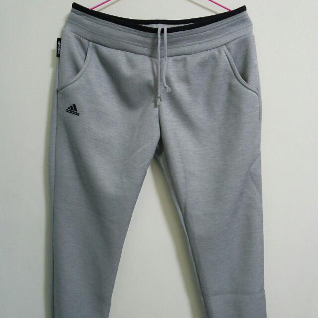 全新Adidas 灰色縮口長褲