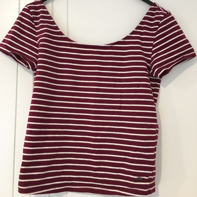 American Eagle Cropped Stripped Tee