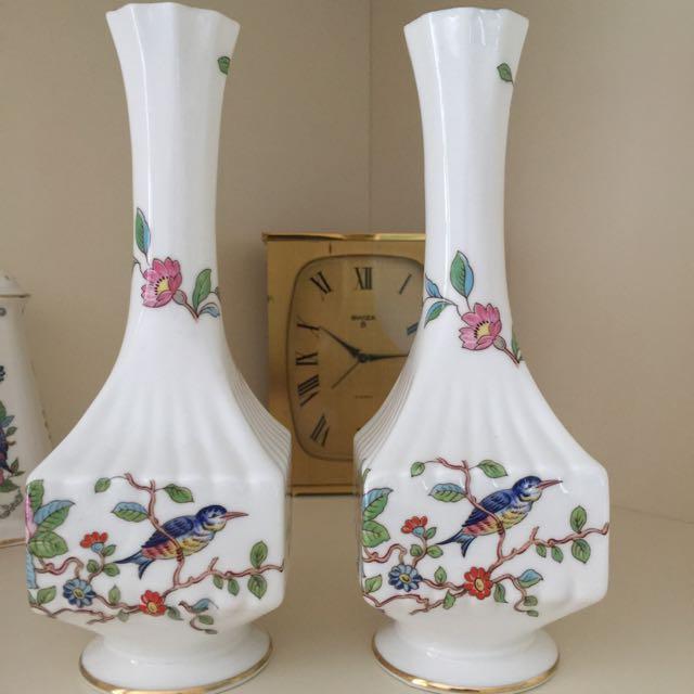 Antique Aynsley Fine English Bone China Pembroke Vase X 2 Antiques