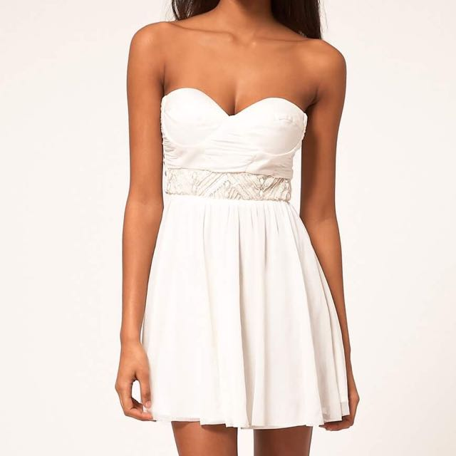 ASOS New With Tags White Skater Dress With Embellished Trim