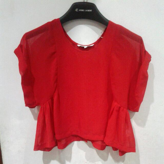Blouse Crop Colorbox Merah