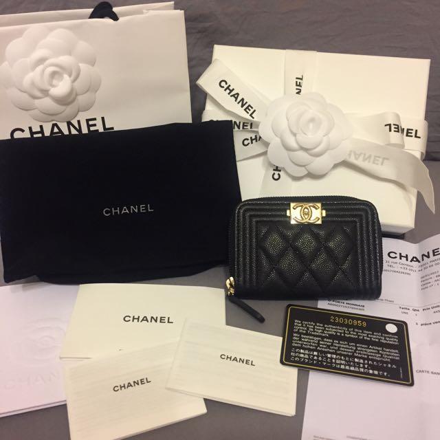 Chanel 最新荔枝牛皮淡金扣Boy拉鍊卡夾 小天菜
