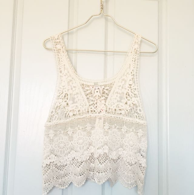 Cream Lace Crochet Top