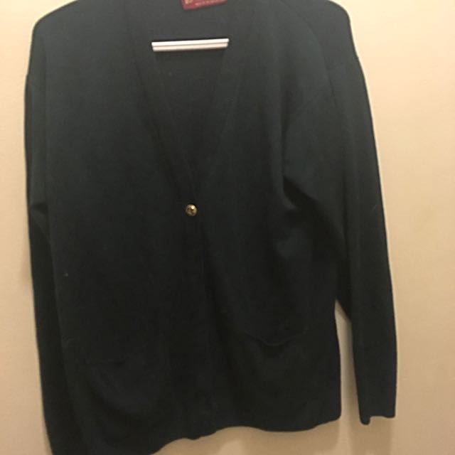 Emerald Green Cardigan With Gold Buttons