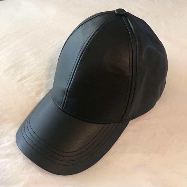 Faux Leather Cap - Hat