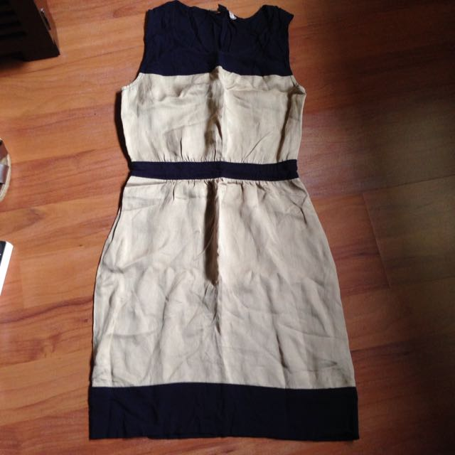 Forever 21 Sleeveless Dress In Navy Blue And Beige Size Small/Petite