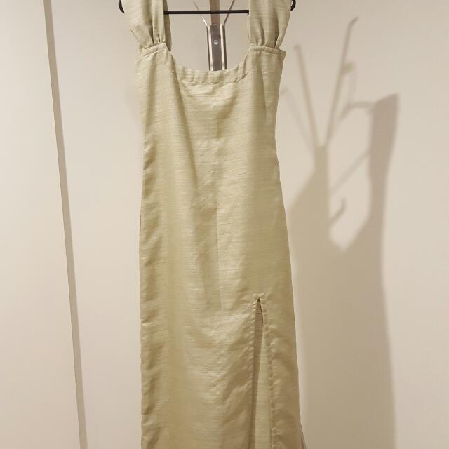 Gold Side Split Dress. Hand Made And Tailored To Fit Size 8