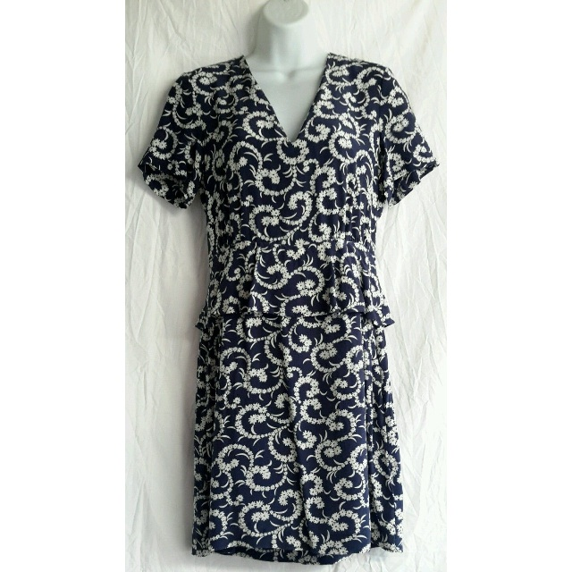 Kachel Blue and White Floral 100% Silk Dress