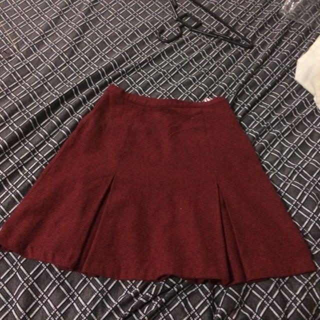 Maroon Flare Skirt Esprit