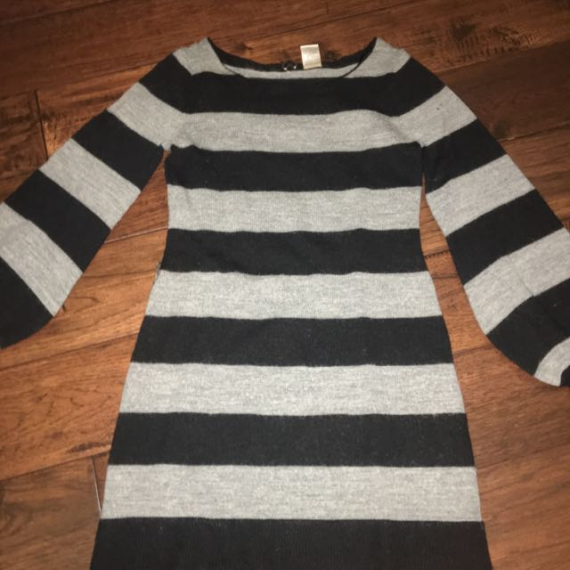 Medium Length Grey And Black Striped Wool Sweater