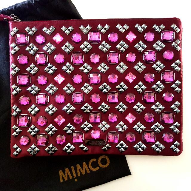 Mimco Jeweled Satin Clutch