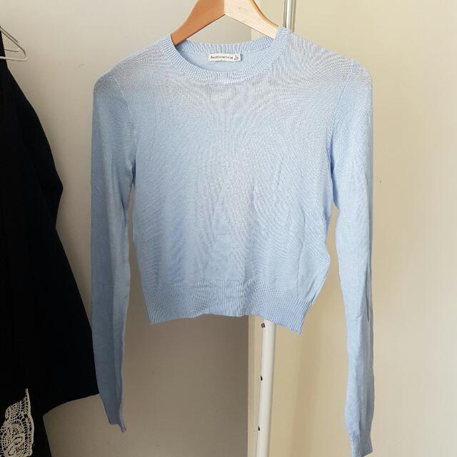 NEW Bershka Knitwear Baby Blue Crop Top