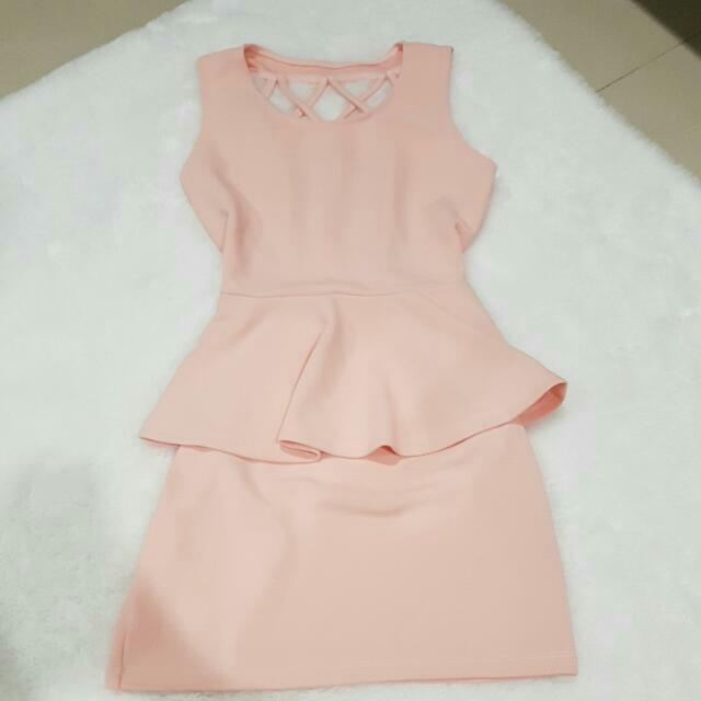 NEW Secy Back Peach Dress