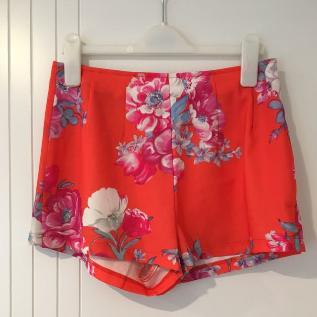 Paint It Red High Waisted Floral Shorts