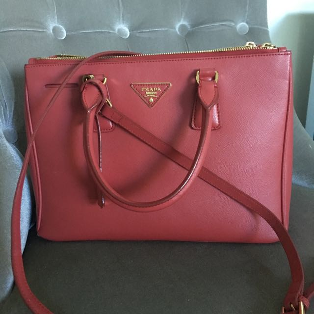 Prada Saffiano Red Leather Tote Bag
