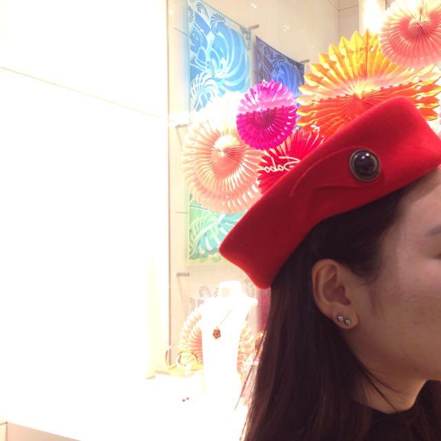 Red Vintage Beret Hat