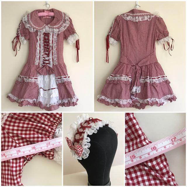 GLP Gothic Lolita Punk - Red White Checkered Lolita dress + headdress