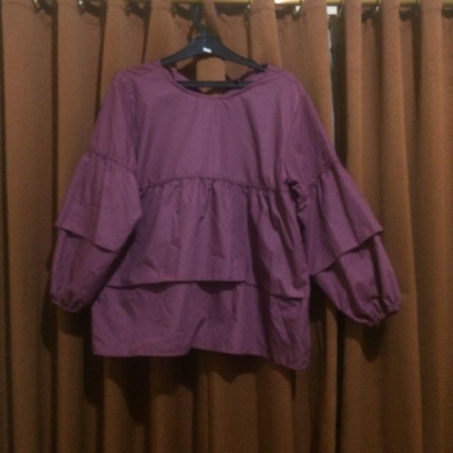 ruffle mauve blouse