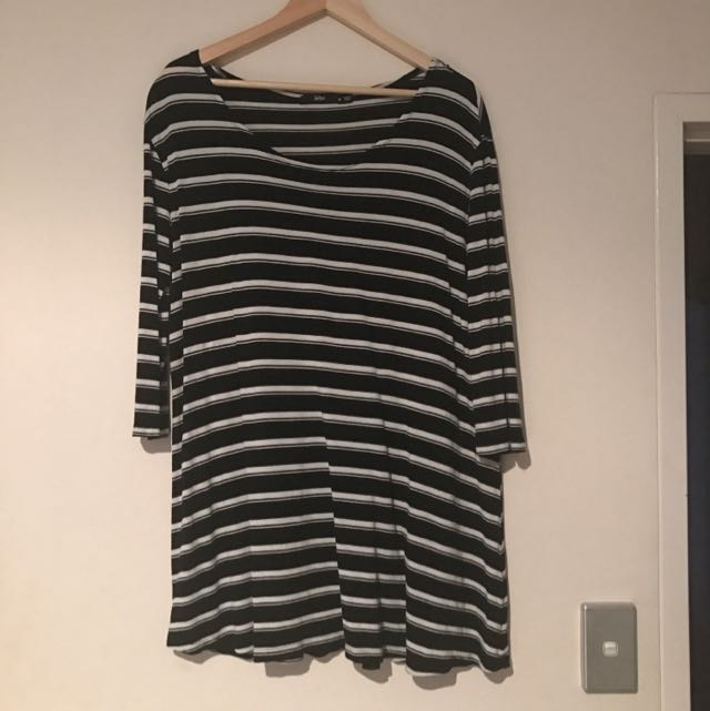 SPORTSGIRL Black And White Striped T-shirt Dress