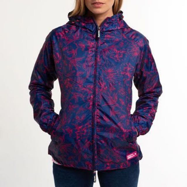SUPERDRY rain jacket in pink+purple floral print SIZE XS