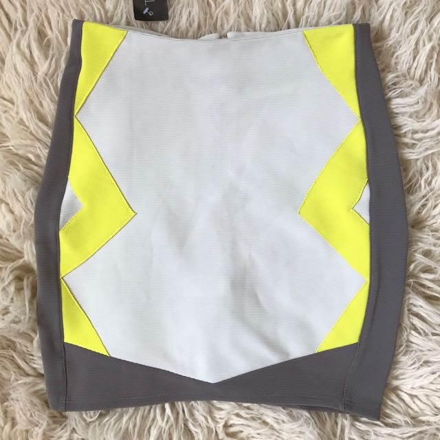 Topshop Fluid Yellow And Grey Body on Skirt