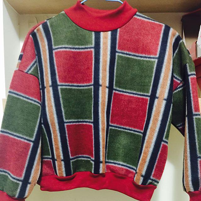 Vintage復古 有型類麂皮紅綠拼格上衣