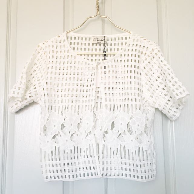 White Crochet Beach Cover