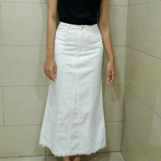White Denim Long Skirt