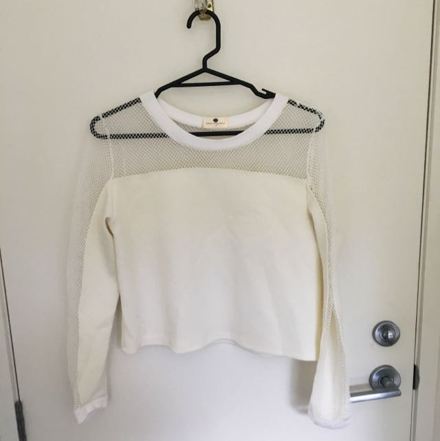 White Mesh Top (size 10) MORNING MIST