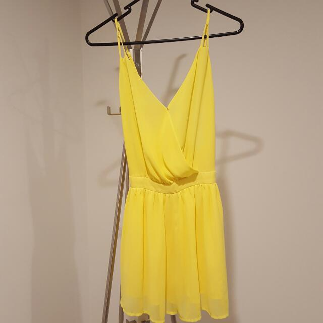 Yellow Low Back Jump Suit Size S