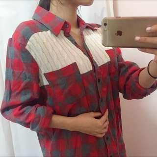 韓)針織格子拼接棉寬鬆毛襯衫