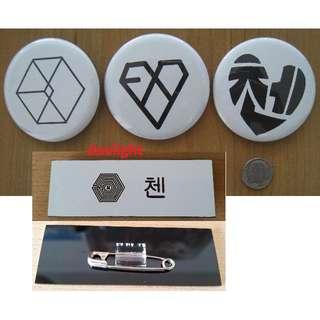 EXO Pins + EXO-M CHEN Name Badge