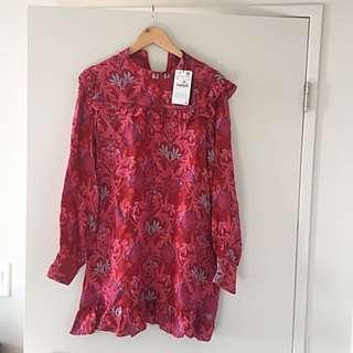 RED FLORAL FRILL ZARA DRESS