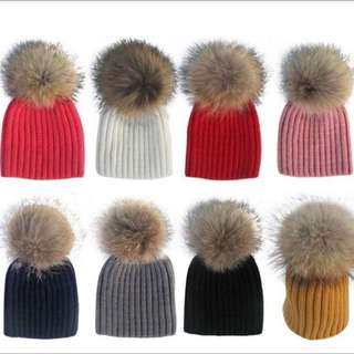 Baby Cute Pompom Hats In Different Colors