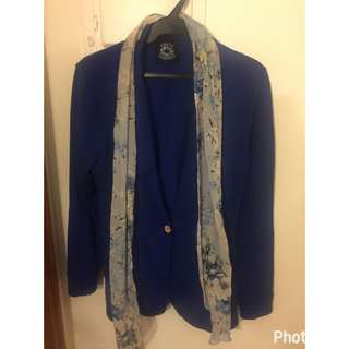 Royal Blue Cardigan With Floral Scarf