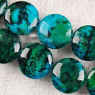 12mm X 1 Azurite Chrysocolla Gem Coin Loose Bead AAA Quality