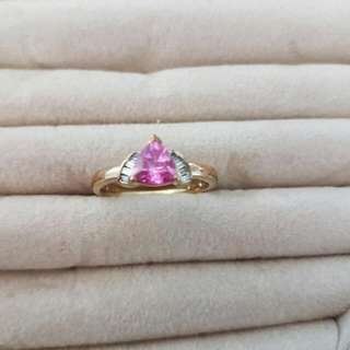 9ct Created Pink Sapphire And Diamond Ring