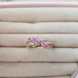 9ct Created Pink Sapphire &Diamond Ring