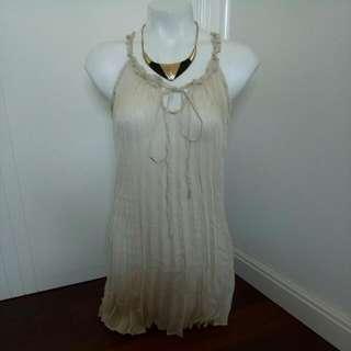 Brand New Beige Pleated Women's / Ladies Dressy / Casual See Through Mesh Top
