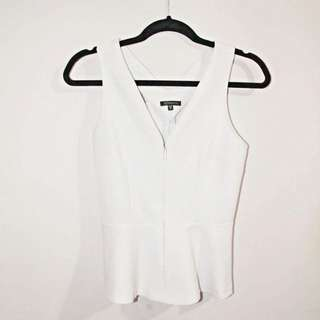 White Peplum Shirt From Dynamite