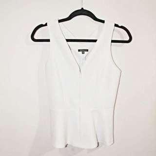 White Peplum Shirt From Dynamite