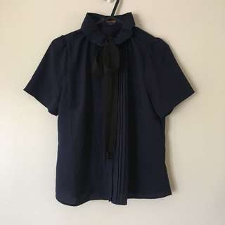 Navy Button-up Tie Blouse