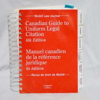 Canadian Guide To Uniform Legal Citation: 6th Edition