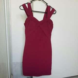 Wine Burgundy Bandage Dress