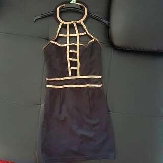 Black And Gold Halter Neck Dress