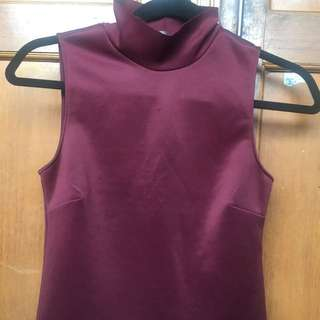 zara turtle neck tank top maroon
